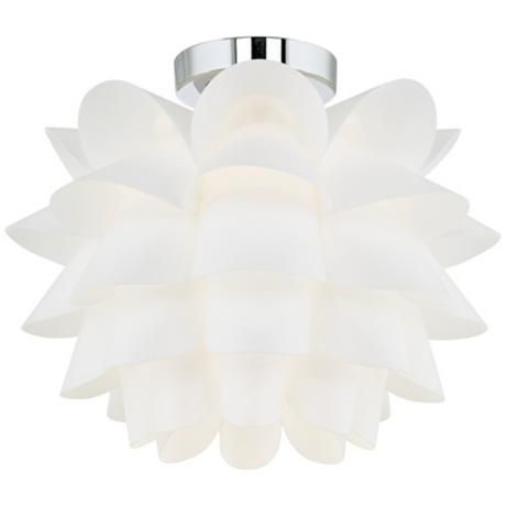 With the look of an open lotus flower, this contemporary white ceiling light is bold yet elegant.