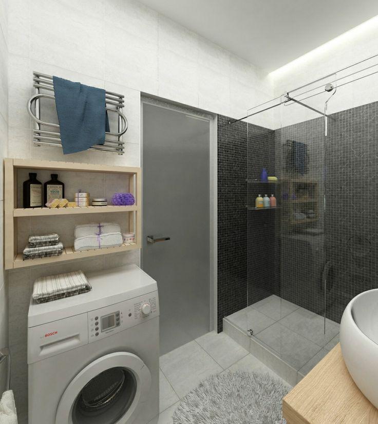 einrichten 1 zimmer wohnung badezimmer waschmaschine regal holz fliesen