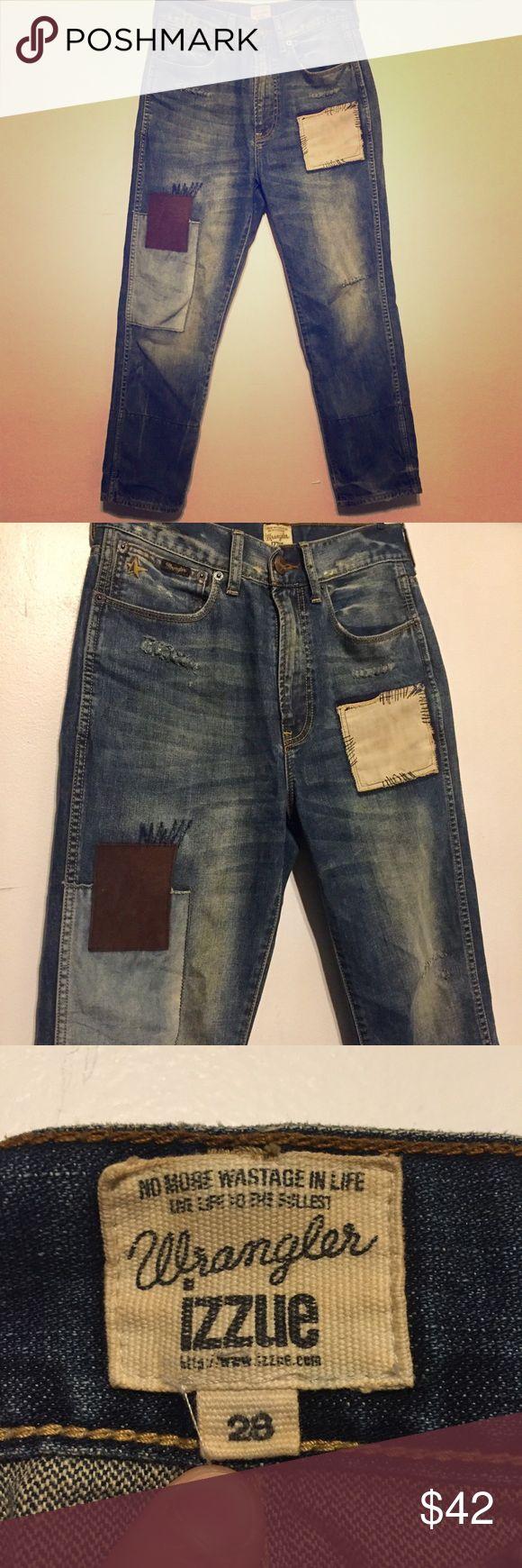 Wrangler / Izzue Collaborative Jeans RARE Ltd Ed. Super rare high rise Wrangler / Izzue collab jeans. Patchwork design. Super comfy. High waist. Wrangler Jeans Ankle & Cropped