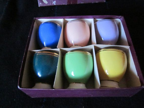 Set Six Coloured Egg Cups  Vintage Egg Cups FS by Yesterdayshome