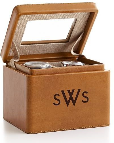 Rustic Leather 2-Slot Watch Box