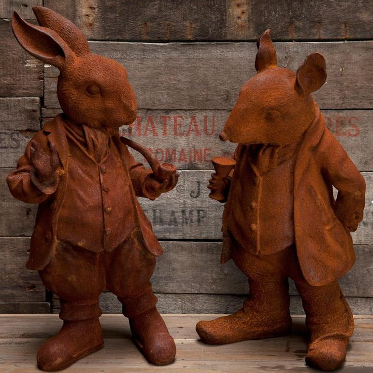 Rusty Red Cast Iron Willows Statue - choice of two from The Farthing