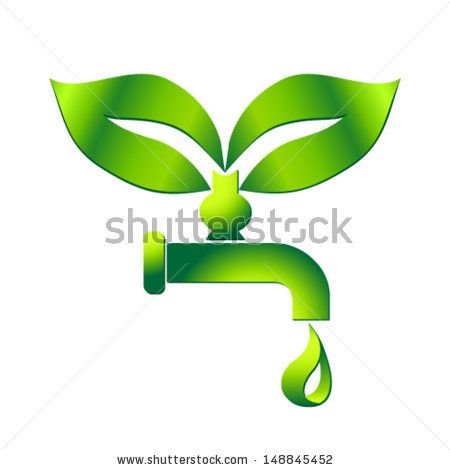 water tap with drop - eco sign - stock vector
