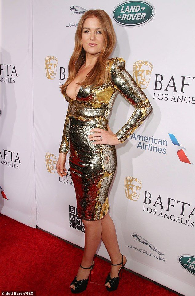 9df3fd67bc9 Isla Fisher shines in gold sequin dress at BAFTA tea party