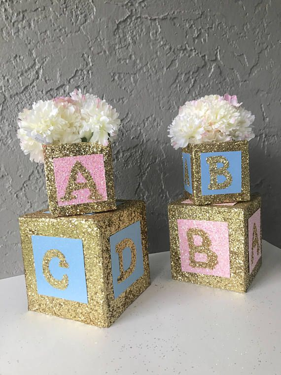 Baby Blocks Cake Topper Decoration Baby Shower Party Gender Reveal