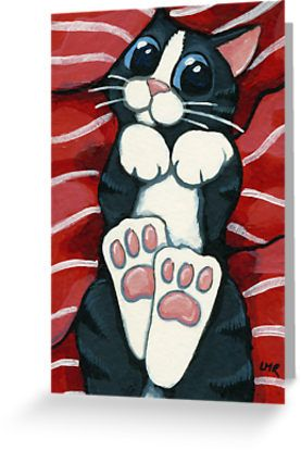 Just look at those HUGE kitty feet waiting to be kissed and those big blue eyes waiting for a belly rub! • Also buy this artwork on stationery.