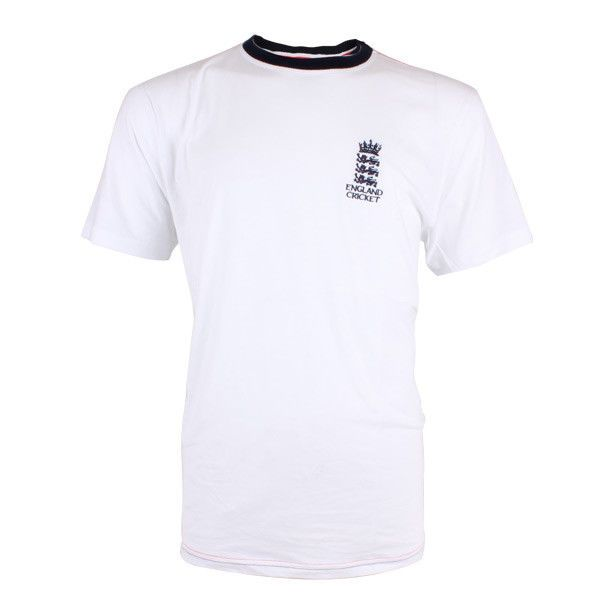 England Cricket Classic Small Logo Ringer T-Shirt - White/Navy - Medium