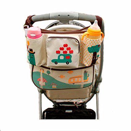 Vine borsa per pannolini passeggino Passeggino organizzatore di stoccaggio bambino passeggino organizzatore borsa per pannolini borsa fasciatoio e astuccio con cerniera rimovibile-Auto 34 * 33 cm