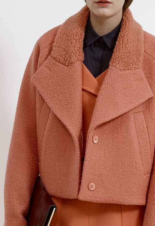 CARVEN | PRE-FALL 2014 Love the texture combination. Definitely look into similar materials, perhaps a plusher, longer fur for the top collar!