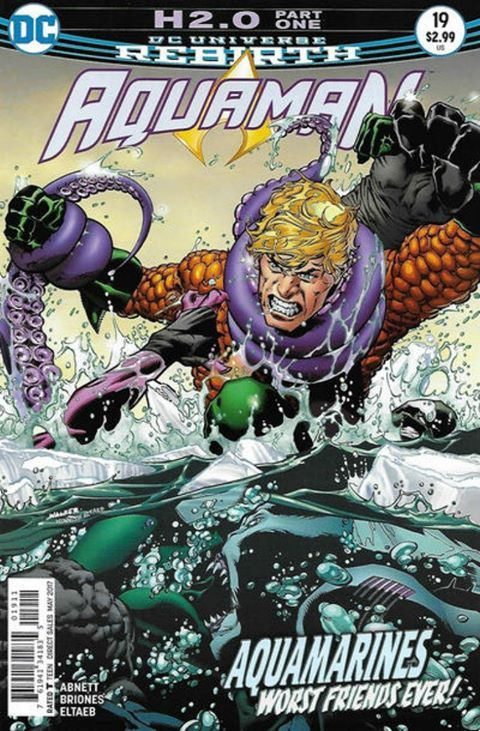 "COMIC BOOK: Aquaman # 19 (Vol VI). PUBLISHER: DC Comics. WRITER(S) Dan Abnett. ARTIST: Philippe Briones. COVER ARTIST: Andrew Hennessy, Bradley Walker. ORIGINAL RELEASE DATE: 3 / 15 / 2017. COVER PRICE: $2.99. RATING: Teen +. STORY TITLE: ""H2.O!"" Pt 1."