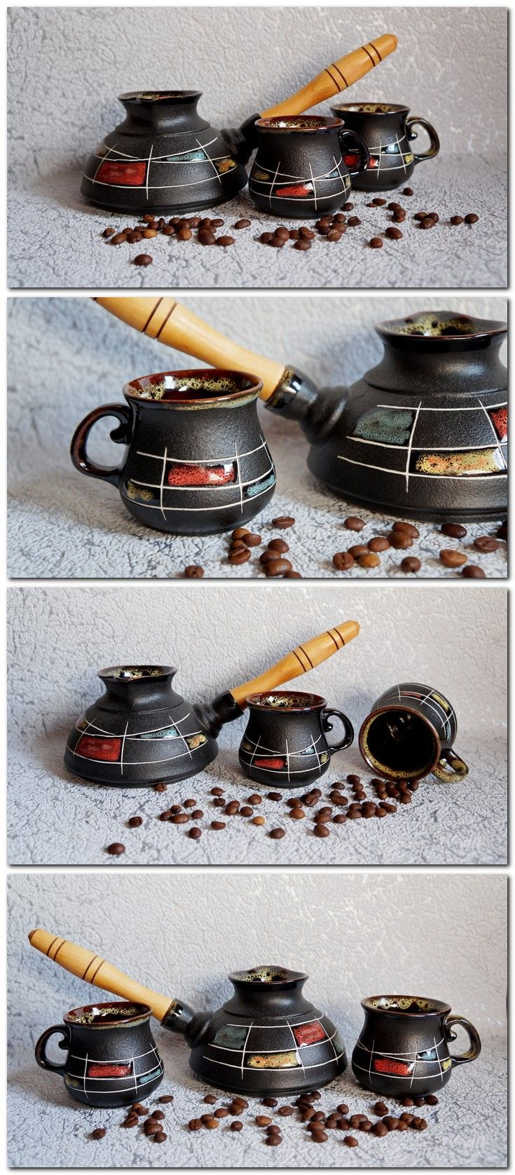 #ceramic_turkish_coffee_set #two_small_coffee_cups #handpainted_pottery