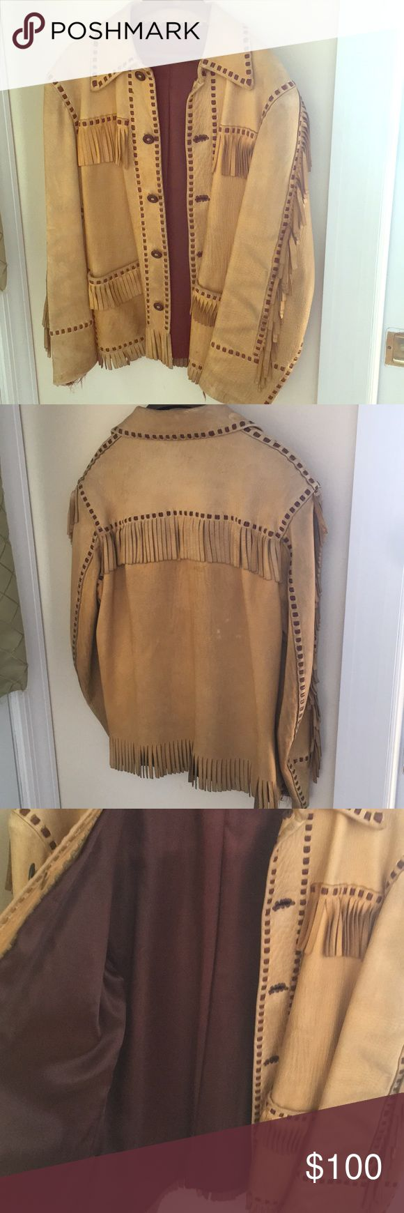 Vintage leather fringe western jacket Vintage leather fringe western jacket. This is an antique and does have some ware and tear on it. Some staining on leather and some loose thread on cuff of jacket. Small/medium fit for a women. This jacket tells a story. Make me an offer ! Jackets & Coats