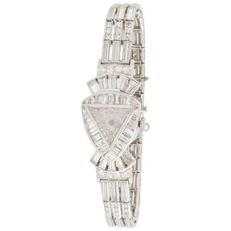 Lucien Piccard Ladies Art Deco Platinum Diamond Wristwatch | From a unique collection of vintage wrist watches at https://www.1stdibs.com/jewelry/watches/wrist-watches/