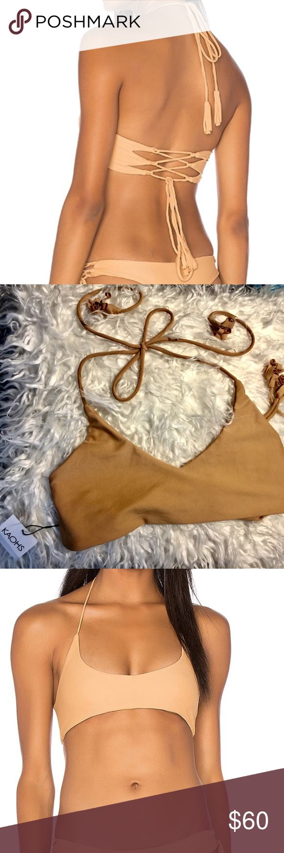 KAOHS Gypsy Top in Sand BNWT. Adjustable tie closures. Super soft and comfortable material. No longer available in stores!  Tagged as Acacia for views. acacia swimwear Swim Bikinis