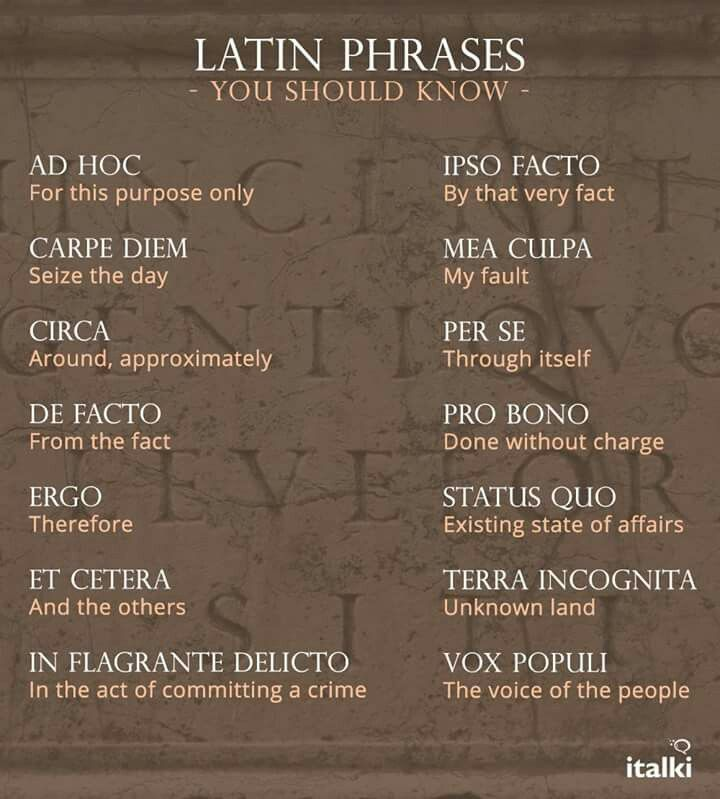 Latin phrases                                                                                                                                                     More
