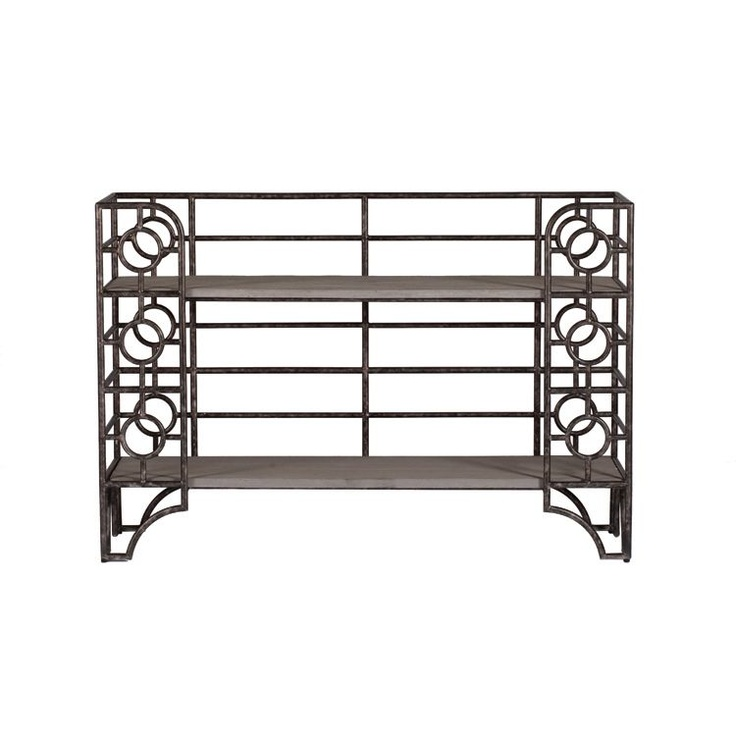 Wyatt Bakers Rack | #GabbyDecor The rhythmic circular patterns in our Wyatt Bakers Rack make storage fun to look at. Iron finished in a brushed and aged zinc with a colored molded concrete. Antique Style Furniture | Transitional Furniture