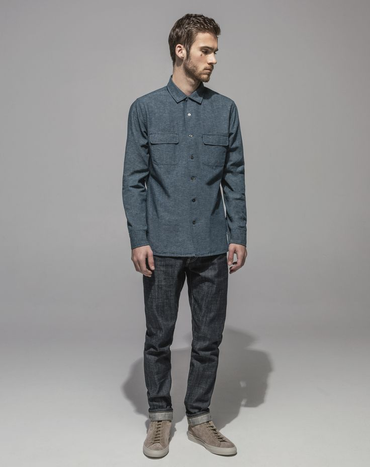 Japanese Yarn Dyed Chambray Revere Collar Shirt (Indigo) Slim Fit Vintage Cross Hatch Selvedge - RAW (Indigo)