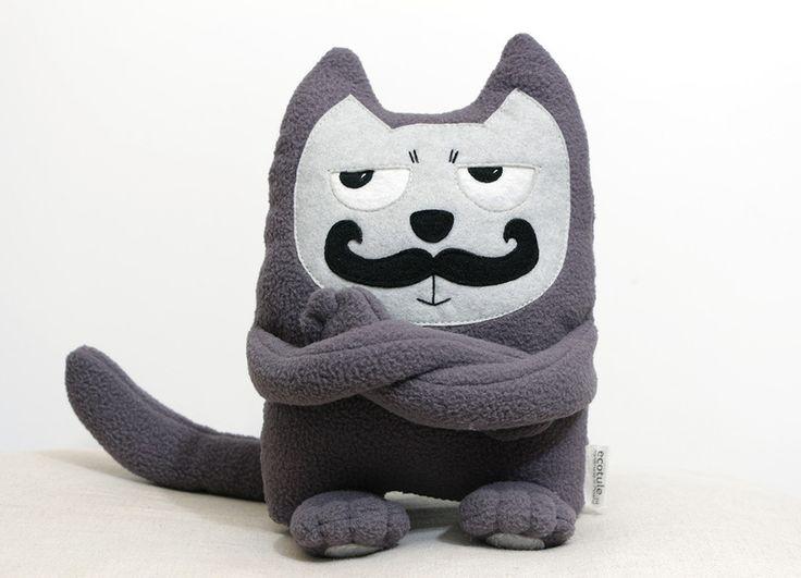 Soft toy mustached #cat de Ecotule sur DaWanda.com #grumpycat #moustache
