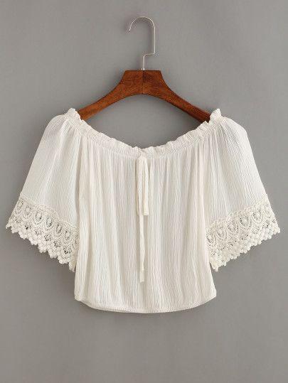 Tie-Neck Crochet Trimmed Sleeve Crop Top