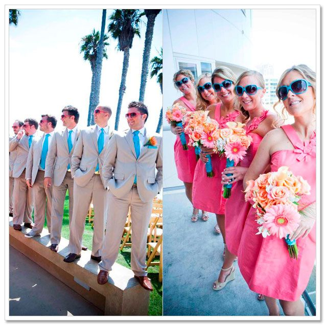 Coral and teal wedding colors- beach wedding.