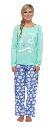 Femmes-Ours-Polaire-Imprime-Paillette-Noel-Hiver-Set-Pyjama-avec