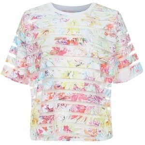 White Wide Sleeve Floral Print Sheer Stripe T-Shirt