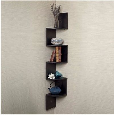 Danya B Decorative Zigzag Corner Wall Shelf With 5 Shelves Makes Space Utilization Possible From Any Creative Design And Saving Solution For