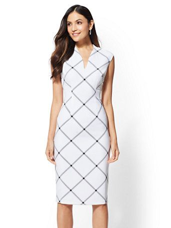 7bb74032 Shop 7th Avenue - Plaid V-Neck Sheath Dress. Find your perfect size online  at the best price at New York & Company.