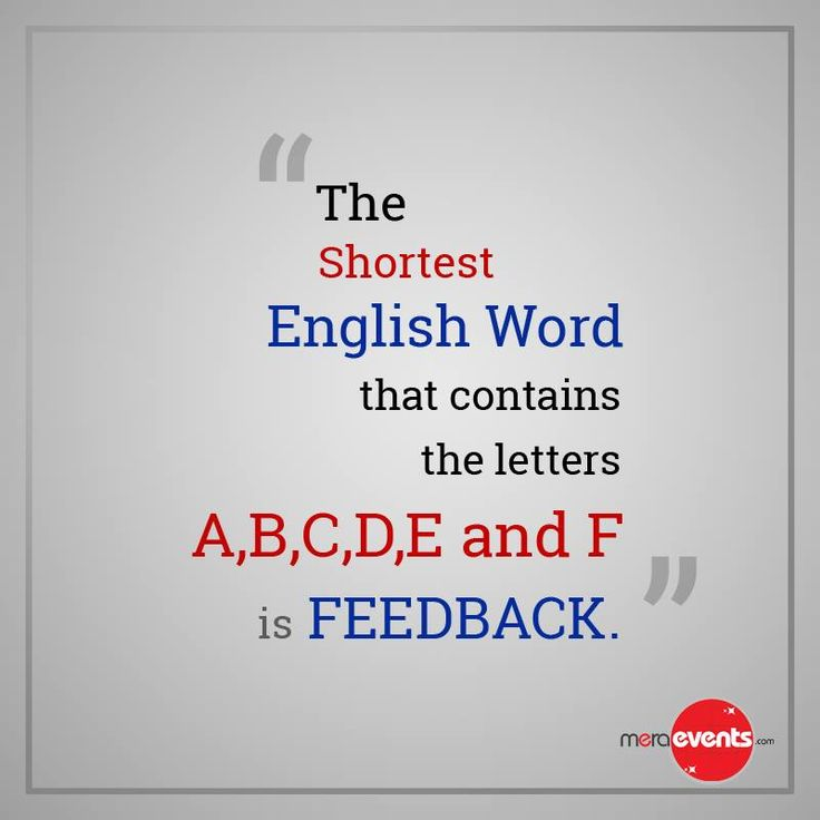 """The Shortest English word that contains the letters A,B,C,D,E and F """"FEEDBACK"""" #Word #Letters #Feedback #MeraEvents"""