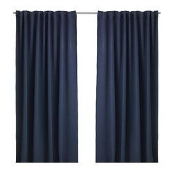 "WERNA Block-out curtains, 1 pair - IKEA - Hem off 30"" at bottom, make into pillow covers. Use cafe hooks to hang"