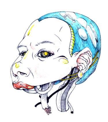 "Saatchi Art Artist TRIANTAFYLIA VASSOU; Drawing, ""Robotic Head"" #art"