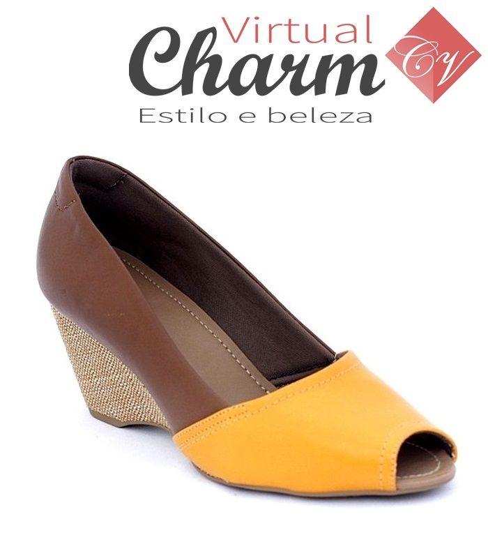 Sapato feminino Peep Toe Usaflex Anabela R2901/36 Bicolor Caramelo/Charuto/Areia