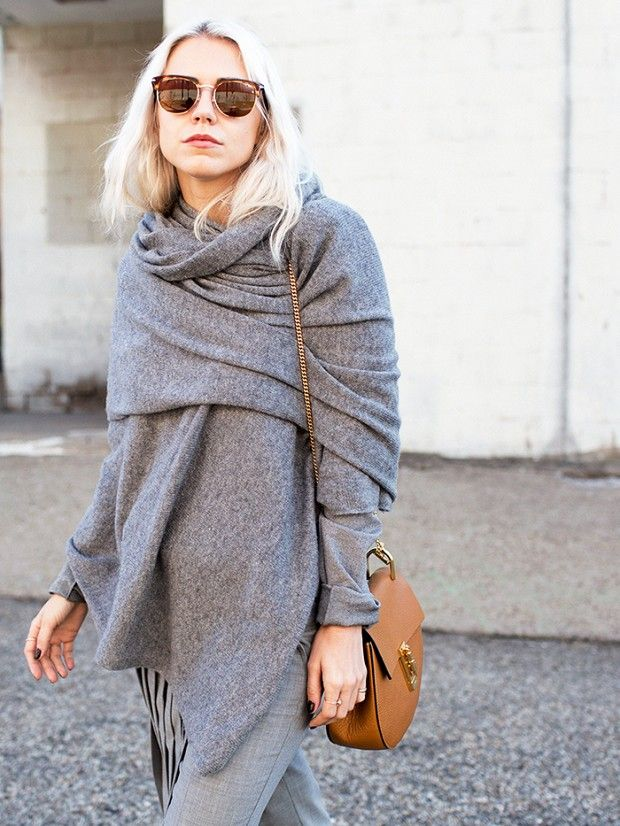 How To Wear an oversized Scarf: See our favorite way to wear one now! via @WhoWhatWear