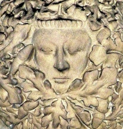A serene Green Man (Woman?) in the vestibule of York Minster, England (photo Tina Negus)