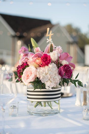 Reception guest table centerpiece.  Floral designs by www.BreathtakingBridalBouquets.com, pink and white wedding flowers, roses, hydrangea, lilies, Kate Spade inspired.  Photo from Sharlene and Eric | Wedding collection by David Manning Photographer Venue: L'Auberge, Del Mar, CA