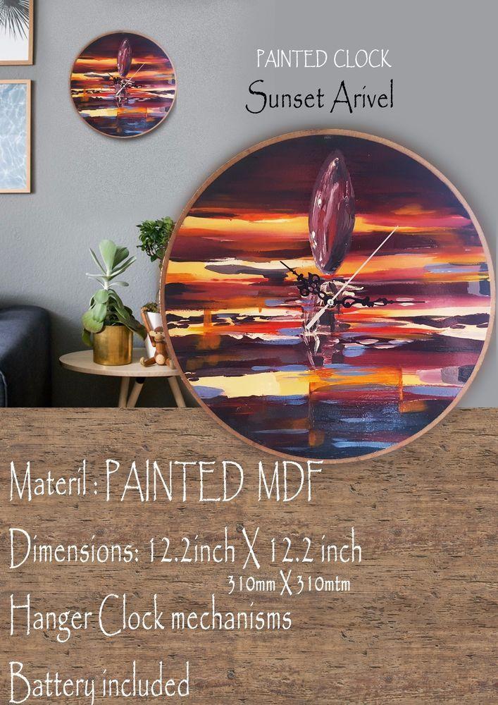 Clock Wood Original Painting #arivels #overtone #glosy#decoration #lasercut  #TimeCraft