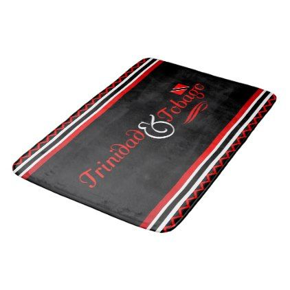 Trinidad and Tobago Flag Bathroom Mat - black and white gifts unique special b&w style