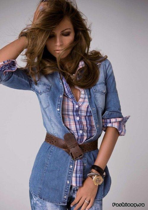 Удлинённая джинсовая рубашка