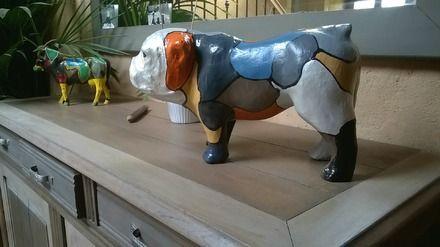 """Bulldogs Anglais en Papier mâché.  Décorés avec """"DécoPatch"""".  Différents coloris et animaux disponibles sur commande! (vaches, pingouins, crocodiles, girafes, dinosaures,  - 15219745"""