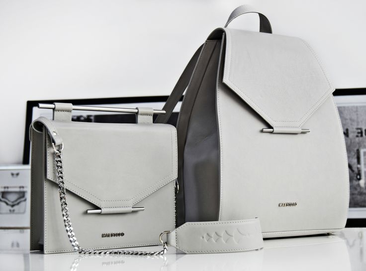 Grey leather bags.