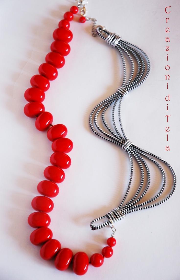 """Creazioni di """"TELA"""": Collane lunghe con zip e perle"""