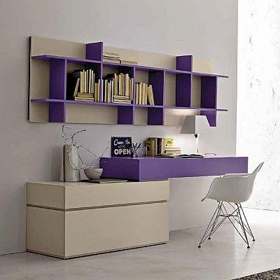 Bright, elegant 'Violet' bookshelves. Beautiful, contemporary and minimalist design.