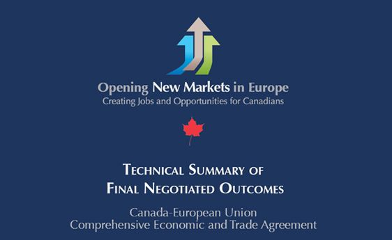 Canada-European Union Economic and Trade Agreement, Final Negotiated Outcomes. #EU #construction