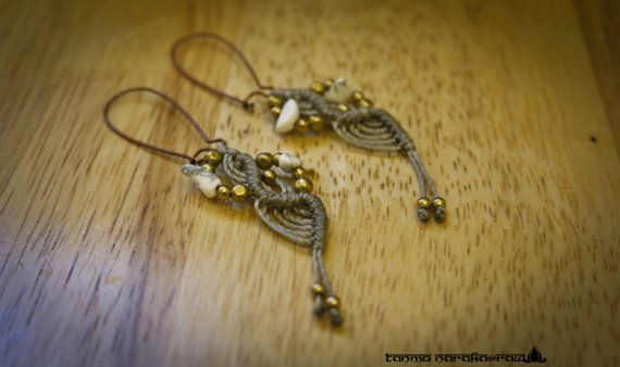 Ethnic Tribal Hippie Hipster Gypsy brass macramé Earrings Faerie Wicca Hipster Bohemian Jewellery - no shipping cost with other item