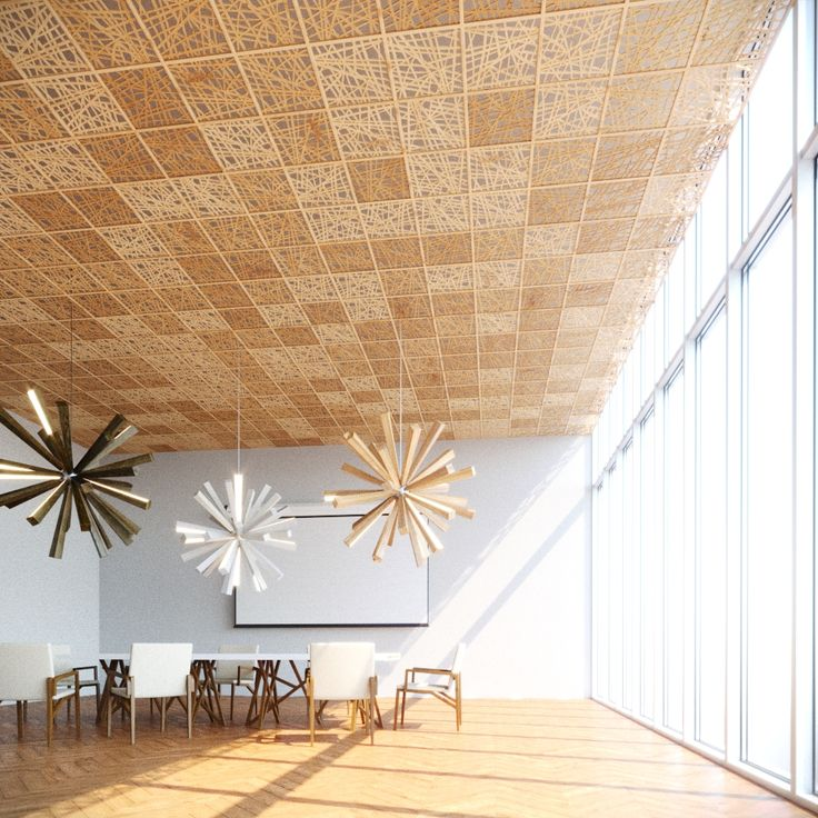 Alternative eco-friendly solution for the ceiling decoration  with the panels WOOD STRAW.