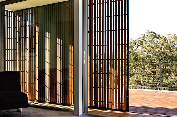 Sliding shade screen timber architecture pinterest for Sliding wooden window design