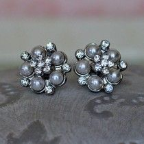 Audrey Pearl and Diamante Crystal earrings