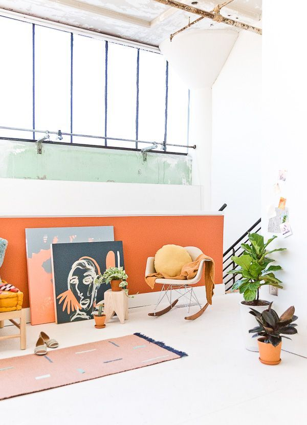 Tips for the perfect paint job and an earthy loft makeover from Paper and Stitch. #loftspace #interiorinspiration #earthymodern #organicmodern