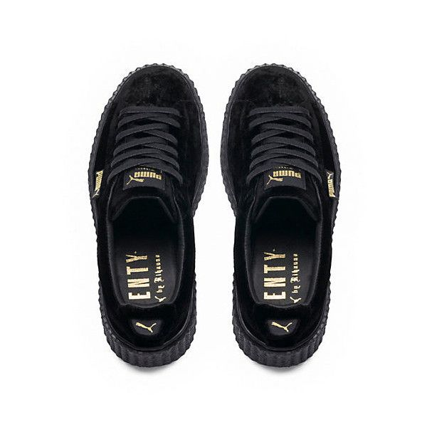 PUMA BY RIHANNA WOMEN'S VELVET CREEPER ($150) ❤ liked on Polyvore featuring shoes, sneakers, momma shoes, puma trainers, puma sneakers, creeper shoes, velvet sneakers and lacing sneakers