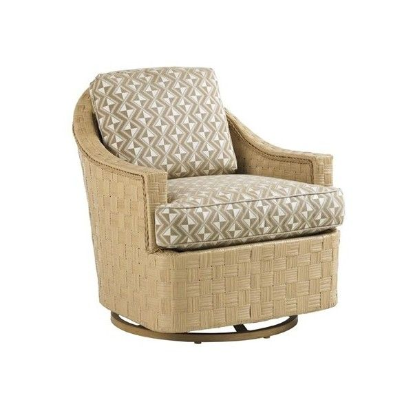 Canberra Surf & Sand Tropical Outdoor Swivel Glider Chair with... ❤ liked on Polyvore featuring home, outdoors, patio furniture, outdoor chairs, patio, outside gliders, upholstered glider, outdoor gliders, outside patio furniture and tommy bahama